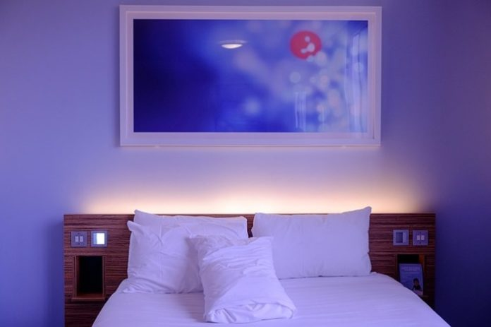 Déco intérieur, chambre à coucher, décoration de chambre à coucher